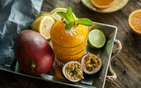 Picture glass, lemon, orange, ice, lime, drink, fruit, mint, citrus, passion fruit