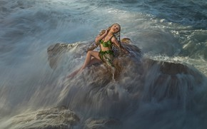 Picture sea, wave, swimsuit, foam, water, girl, light, squirt, storm, pose, stones, element, model, stream, fantasy, …