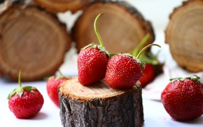 Wallpaper background, strawberry, stump