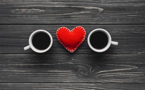 Picture Coffee, pair, Hearts, Background
