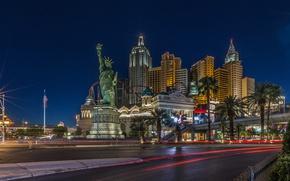Picture night, street, home, Las Vegas, USA, The Statue Of Liberty, casino
