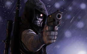 Picture gun, mask, guy, rifle, anime, art, sword art online, gun gale online, Death Gun
