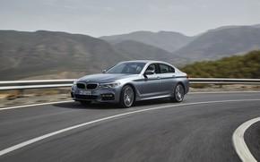 Picture road, the sky, asphalt, mountains, grey, movement, BMW, sedan, 540i, 5, M Sport, four-door, 2017, …
