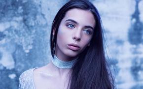 Wallpaper girl, decoration, background, portrait, makeup, brunette, hairstyle