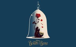 Picture girl, rose, Disney, Emma Watson, flower, monster, dress, woman, lion, man, movie, animal, poster, blonde, …