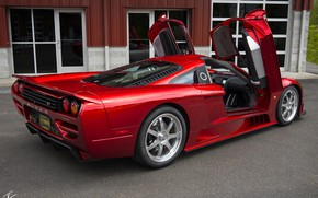 Picture red, design, sports car, Twin Turbo, Side view, Saleen S7, manual Assembly