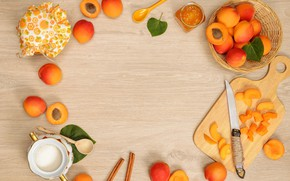 Picture leaves, slices, jam, apricots