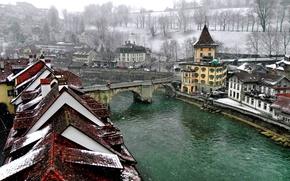 Wallpaper winter, bridge, the city, river, Switzerland, roof, channel, Bern, Bern