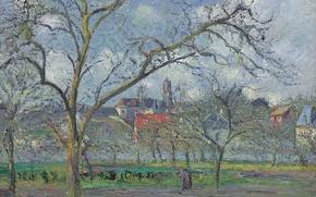 Picture landscape, picture, Camille Pissarro, Garden in Saint-Ouen-l'aumône in the Winter. PONTOISE