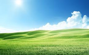 Wallpaper The sky, Nature, Meadows, Hills, Landscape