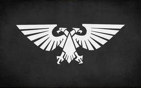 Picture white, black, eagle, fon, desktop wallpapers, Imperium of Mankind, Warhammer 40 000, banner