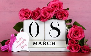 Wallpaper March 8, roses, number, women's day, holiday, date, flowers