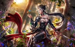 Picture forest, chest, girl, butterfly, hair, elf, dress, knife, Antalya