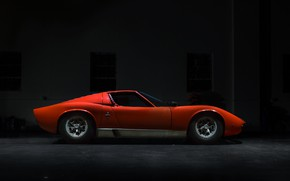 Picture Color, Auto, Lamborghini, Machine, Orange, 1971, Car, Car, Supercar, Old, Side view, P400, Jeremy Cliff, …