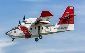 Picture twin-engine, Canadair, turboprop, amphibian, fire, CL-415MP