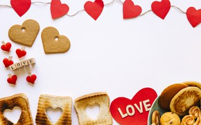 Picture love, box, heart, Breakfast, cookies, gifts, Valentine's Day