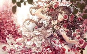 Picture girl, flowers, roses, art, hagiwara rin