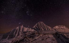 Wallpaper Lunar landscape, Lunar landscape, stars