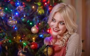 Wallpaper girl, balls, decoration, smile, mood, balls, blonde, New year, tree, curls