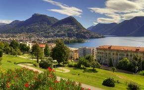 Wallpaper lake Lugano, landscape, Lugano, lake, Lugano, Lake Lugano, trees, panorama, home, Ticino, Ticino, Alps, building, ...