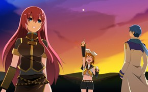 Picture sunset, girls, guy, Vocaloid, Vocaloid, Kaito, Kagamine Rin
