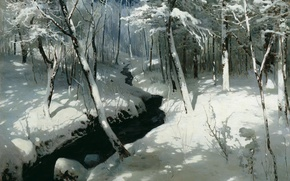 Picture winter, snow, oil, canvas, 1906, Stream in the forest, Andrey SCHILDER (1861-1919)