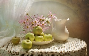 Picture flowers, table, background, apples, plate, vase, still life, curtain, tablecloth, kosmeya