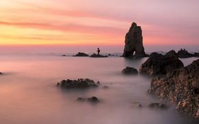 Picture sea, beach, summer, the sky, sunset, stones, rocks, shore, summer, beach, sky, sea, sunset, pink, …