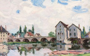 Picture landscape, bridge, home, picture, Alfred Sisley, Alfred Sisley, Sea-sur-Loing