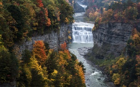 Wallpaper Genesee River, Middle Falls, Letchworth State Park, State of New York, rocks, falls Middle falls, ...