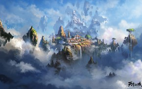 Picture the city, heaven, the game, art, location, Liang xing, The city of the sky
