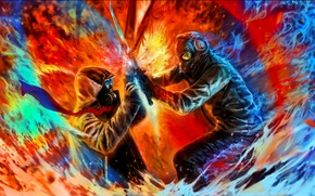 Picture people, battle, attack, mask, romantically apocalyptic, just the two of us