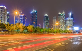 Picture Lights, Night, Skyscrapers, China, Shanghai, Night landscape