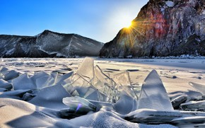 Wallpaper ice, rocks, the sky, the sun, forest, trees, winter, mountains, snow, rays