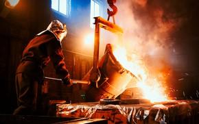 Wallpaper worker, metal in liquid, smelter