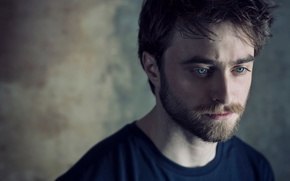 Wallpaper photoshoot, Daniel Radcliffe, Daniel Radcliffe, bokeh, actor, Sarah Dunn, t-shirt, beard, portrait
