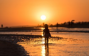 Picture sea, sunset, girl