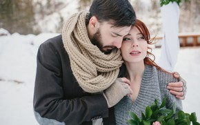 Picture winter, girl, snow, scarf, hugs, pair, gloves, red, guy, two, lovers, bokeh
