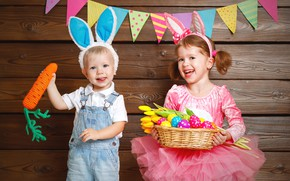 Picture children, holiday, boy, girl, Bunny