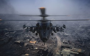 Picture destruction, helicopter, Military helicopter