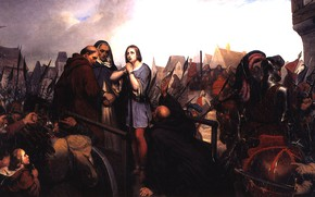 Picture Henri, 1835, Schiffer, betrayed her cries for forgiveness, Joan of Arc in the square of …