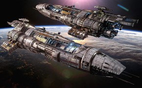 Picture space, planet, ships, Fractured Space, USR Black Widow