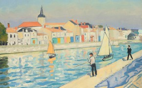Picture river, home, picture, fisherman, the urban landscape, Albert Marquet, Albert Marquet, Fishermen line the thatch