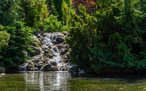 Picture greens, the sun, trees, pond, Park, stones, waterfall, Germany, Berlin, Viktoriapark