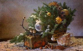 Picture winter, tea, tree, new year, Christmas, birds, nuts, still life, December, composition, / fairy party …