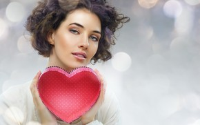 Wallpaper glare, in white, makeup, hairstyle, Valentine's day, beauty, red, brown hair, heart, background, box, look