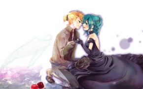 Picture girl, romance, apples, rose, anime, art, guy, Vocaloid, Vocaloid