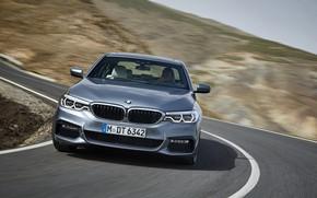 Picture road, the sky, asphalt, grey, turn, BMW, slope, sedan, 540i, 5, M Sport, four-door, 2017, …