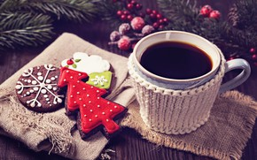Picture tea, tree, cookies, Cup, New year, Christmas, cakes, cup, cookies