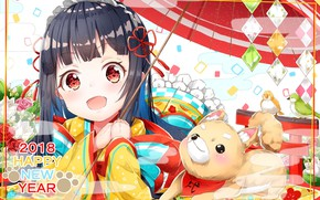Picture anime, girl, puppy, New year